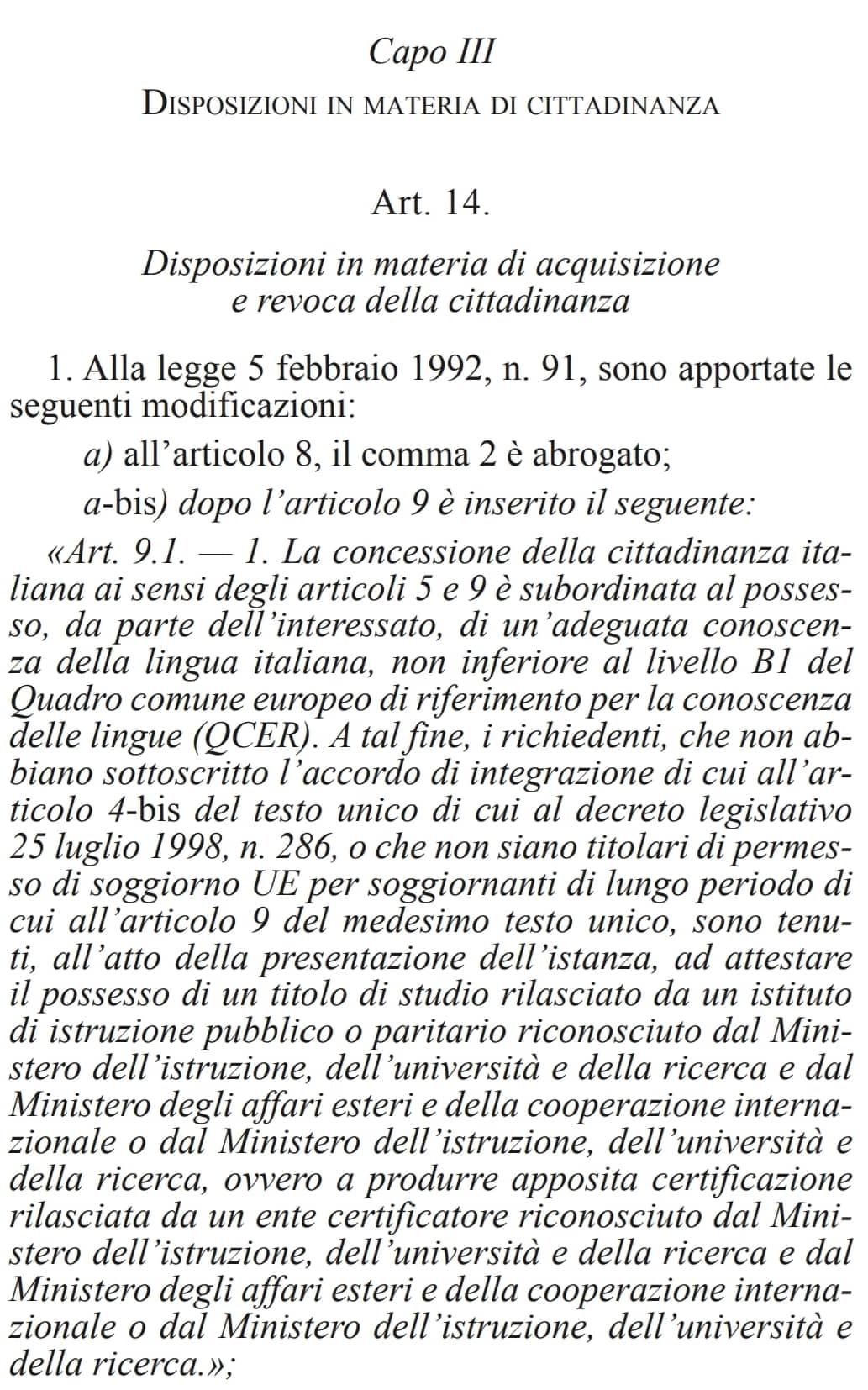 Traduce in italiano per lavoro, cittadinanza negata perché ...