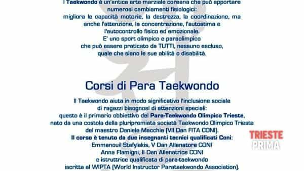 14 ottobre 2017 - Trieste, para-taekwondo: quando l'arte marziale supera le barriere