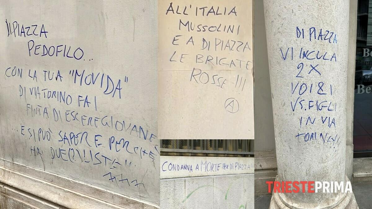 Da piazza Unità a via Diaz, raffica di scritte ingiuriose contro il sindaco